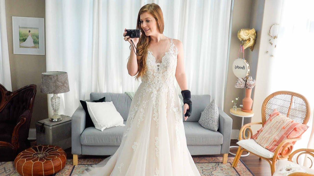 Trying On Wedding Dresses! - YouTube
