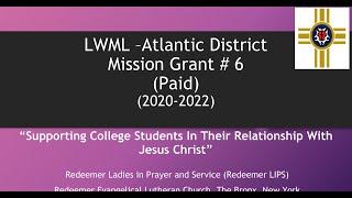 LWML Atlantic District 2020 2021 Mission Grant #6