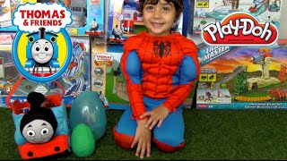 GIANT EGG SURPRISE OPENING Thomas and Friends Toy Trains Disney Cars Toys Kinder Surprise Egg