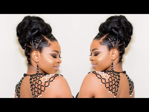 ELEGANT RUBBER BAND UPDO/BUN (quick and easy protective style- natural hair)