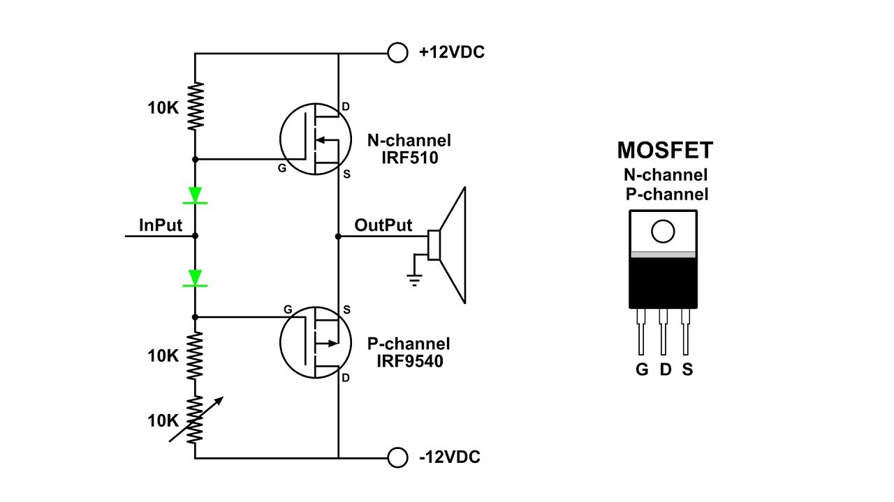 mosfet push pull amplifier visual demo [ 1280 x 720 Pixel ]