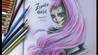 Colored Pencils Drawing - ZOMBIE GAGA - Monster High!!
