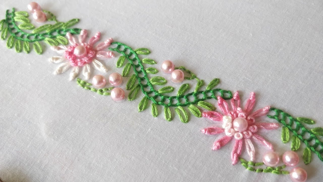 Aninimal Book: Simple Floral Border Design (Hand Embroidery Work) - YouTube