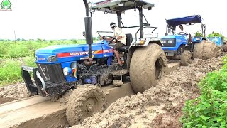 Sonalika 750 Pulled by 3 Tractors when stucked in deep mud | Swaraj 855 FE | Powertract Euro 55