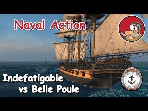 Naval Action Gameplay - Battles - Indefatigable vs Belle Poule