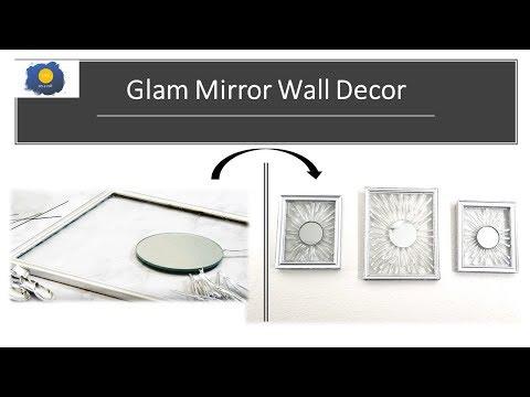 Glam Mirror Wall Decor DIY | Dollar Tree DIY Glamorous Home Decor | Inexpensive Gift, Vanity mirror