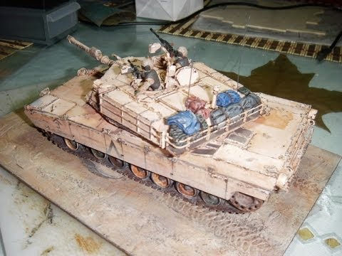 Papercraft Diorama con tanque Abrams M1A1  de fly model ( paper model)
