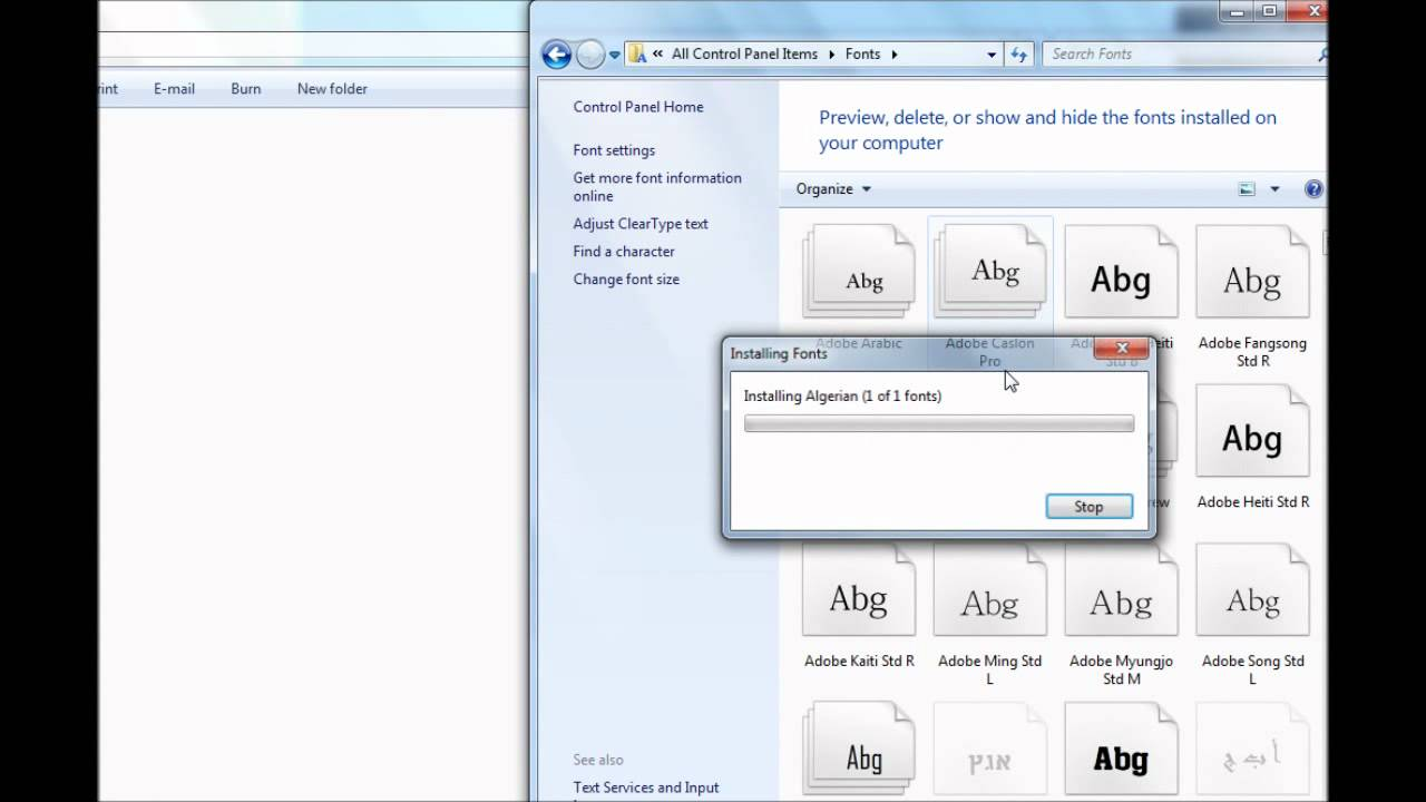 how to download fonts in windows 7