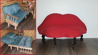 5 DIY Doll Couches - Convertible Sofa Beds, Lip Couch,etc