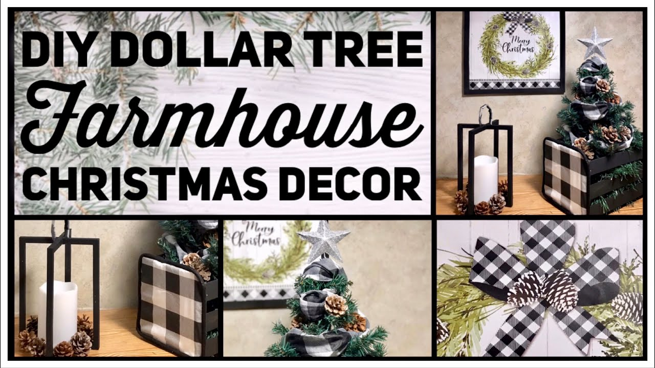 Dollar Tree Diy Farmhouse Christmas Decor Ideas 2019 Black White Buffalo Check Simple Crafts Youtube