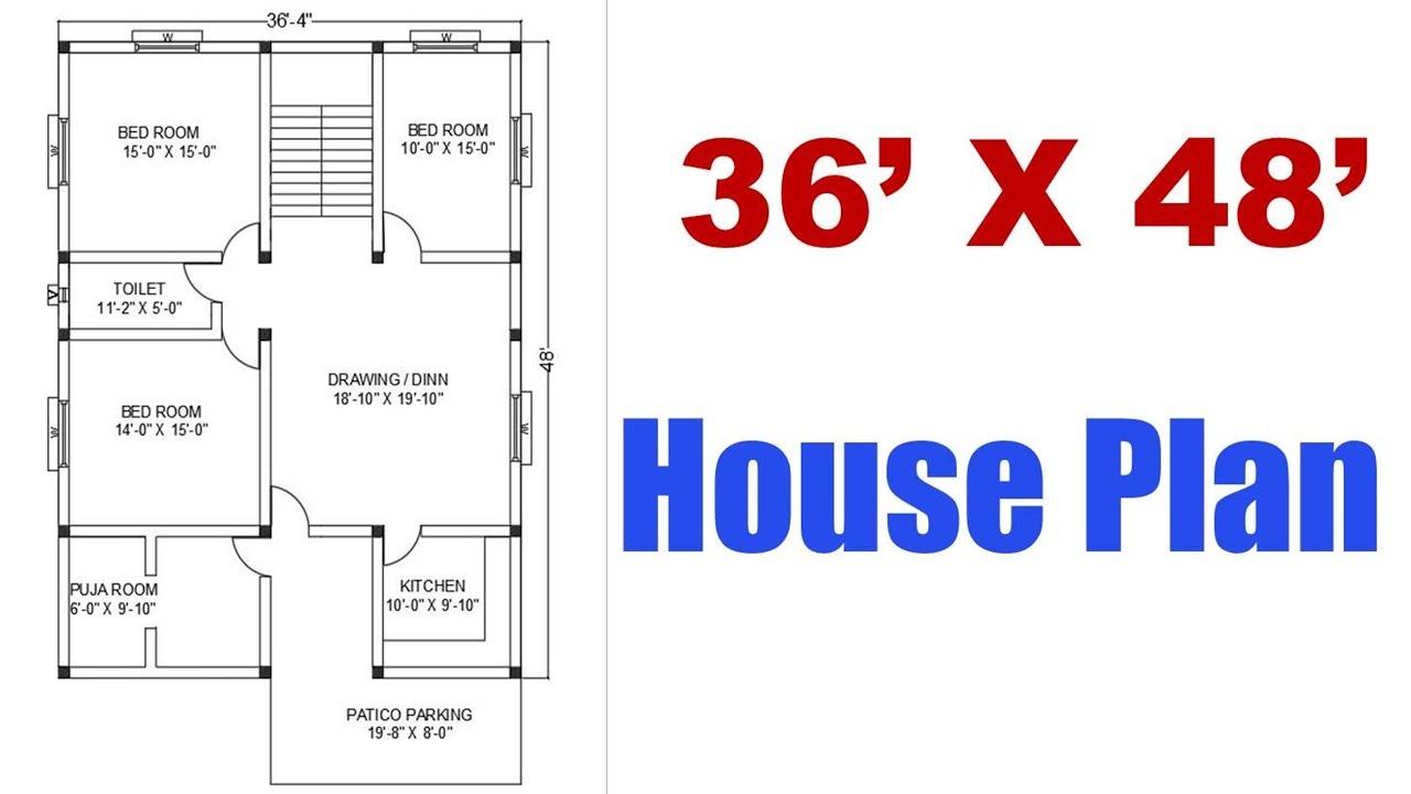36 X 48 feet House Plan | घर का नक्सा 36 फ़ीट X 48 फ़ीट