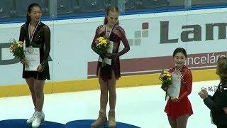 Ladies Victory Ceremony - 女子表彰式 - 2019 Nepela Memorial - TRUSOVA - 坂本花織 Kaori SAKAMOTO - Hanul KIM