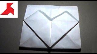 Как сделать конверт с большим сердечком из бумаги А4?(Схема, как своими руками сложить романтический конверт с сердечком из бумаги формата А4. Отобразите в тако..., 2016-05-15T22:37:18.000Z)