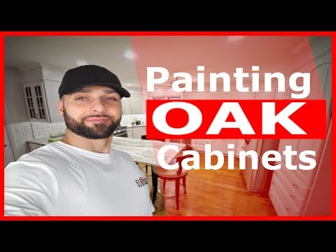 Painting Oak kitchen cabinets How we do it
