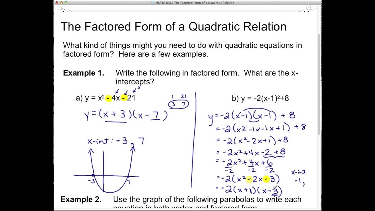 MBF3C U3L5 The Factored Form of a Quadratic Relation - YouTube