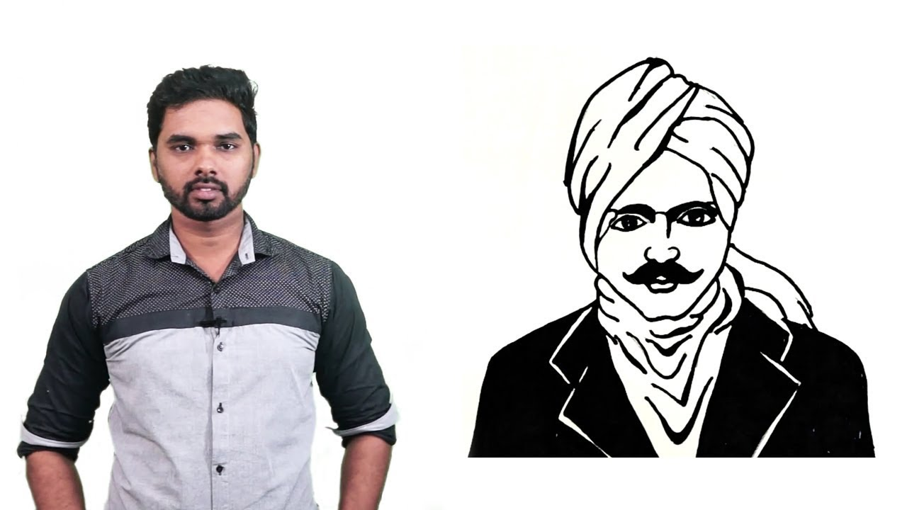 How to draw bharathiyar drawing for kids step by step for kids subramania bharati drawing