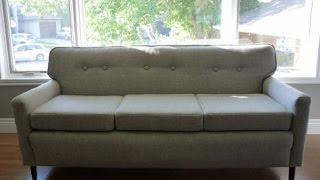 Перетяжка дивана в домашних условиях своими руками(Пример самостоятельной перетяжки прямого мягкого дивана дома самому. Реставрация мягких частей, замена..., 2015-12-15T20:21:04.000Z)