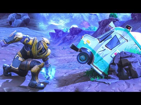 HOW LONG IT TAKES THANOS TO DESTROY ICE CREAM TRUCK!? Fortnite Battle Royale