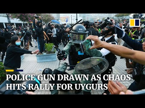 Police gun drawn as Hong Kong rally for China's Uygurs descends into chaos