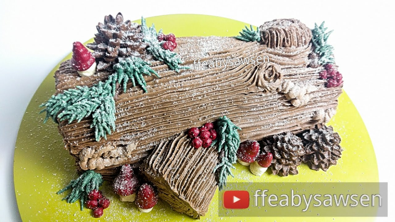 Christmas Yule Log Cake.Chocolate Yule Log Cake Buche De Noel Tutorial Recipe Christmas Relaxing Cake Decorating