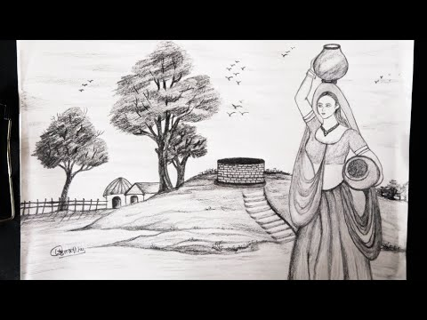 How to draw real village landscape with well and women with pencil shading