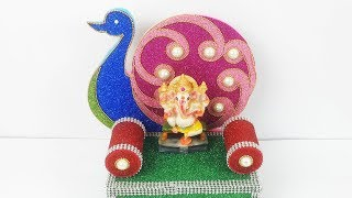 Ganpati decoration Idea- how to Make easy Makhar from Glitter Sheets - Easy Peacock Decoration