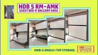 Wall Bed / Hidden Bed HDB 5 Rm HWB S.Single Horizontal +Top Storage Cabinets.HWB HUB.BTO.EC.DBSS