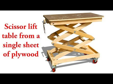Scissor lift table from a single sheet of plywood