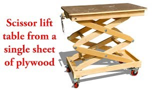 Baixar Scissor lift table from a single sheet of plywood
