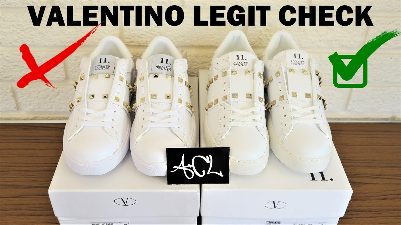 best sneakers 1946b 14ee4 How to spot fake Valentino Rockstud shoes authentic vs replica Valentino  legit check review