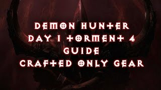Diablo 3 Reaper of Souls Demon Hunter Beginner Guide (Crafted Only Gear) Torment 4 In a Day + Rift