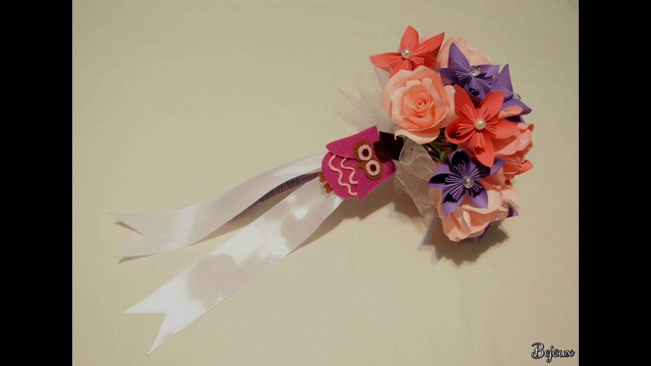 Paper bouquet for graduation - YouTube