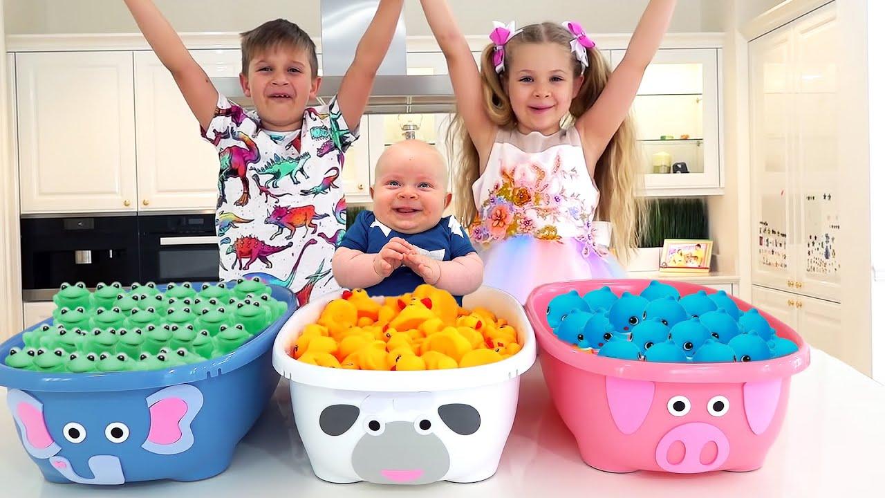 Diana y Roma le enseñan a Oliver los Colores | Video de aprendizaje para infantes