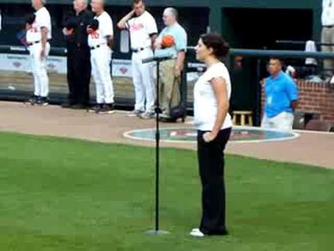 Sara Lauver sings anthem at Orioles/Red Sox game