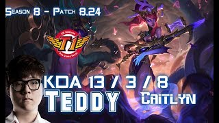 SKT T1 Teddy CAITLYN vs EZREAL ADC - Patch 8.24 KR Ranked