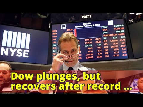 Dow plunges, but recovers after record 1,175-point drop