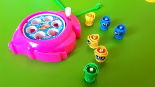 Fish Toys Under Surprise Box! LET'S GO FISHING GAME with surprise toys opening