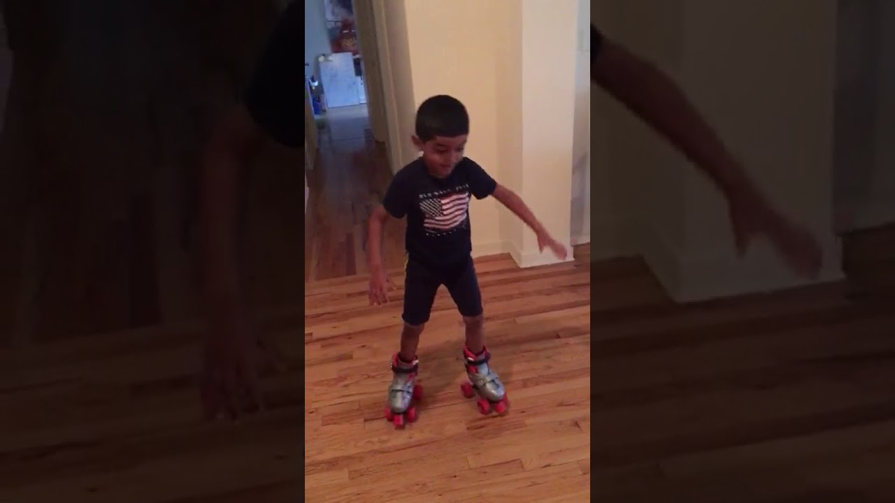 5 yr kid giving skating instructions for beginners