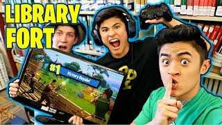 FORTNITE FORT IN THE LIBRARY! thumbnail