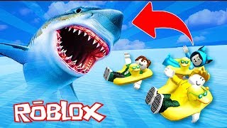 WIR EAT A GIANT TIBURON!! MEGALODON ROBLOX ESCAPE 💙💚💛 BE BE BE BE BE BE FROM MILO VITA AND ADRI 😍 AMIWITOS