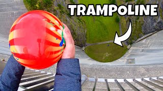 One of How Ridiculous's most viewed videos: BOWLING BALL Vs. TRAMPOLINE from 165m Dam!