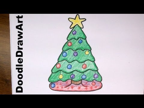 Drawing how to draw a cute cartoon christmas tree easy step by step drawing lesson