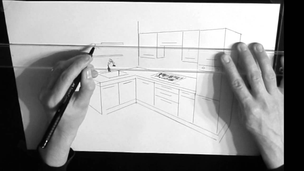 dessin cuisine en perspective youtube. Black Bedroom Furniture Sets. Home Design Ideas