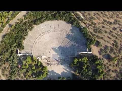 Beautiful places in the world : Greece Teatr Epidauros, Amphitheatre Epidavros Aerial Video
