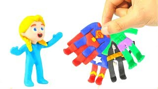 KIDS WEARING SUPERHERO COSTUMES ❤ PLAY DOH CARTOONS FOR KIDS
