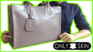 0+ Обзор деловой женской сумки (натуральная кожа)  -  Пепельная роза  - Онлайн магазин ONLYSKIN RU