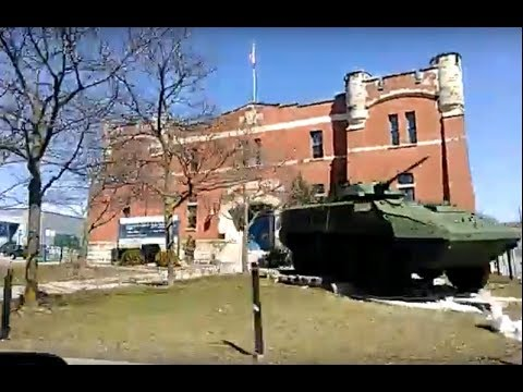 Driving by Galt Armoury historical building in Cambridge, Ontario