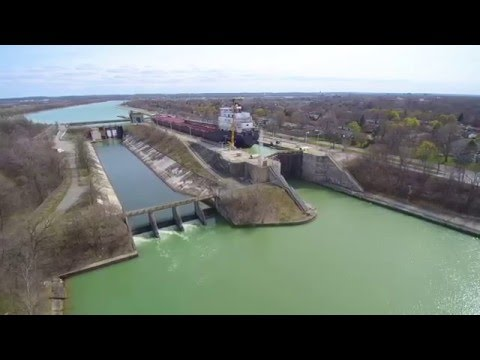 Ship passing through the Welland Canal Lock 2 in St Catherines Ontario