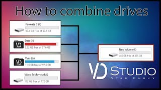 How to combine multiple hard drive Partition into one large volume || VD Studio