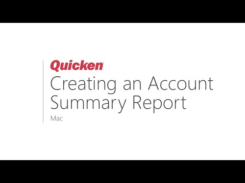 Quicken for Mac - How to create an Account Summary Report - YouTube